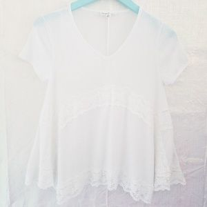 Cloud Chaser Short Sleeve Lace Inlay Top